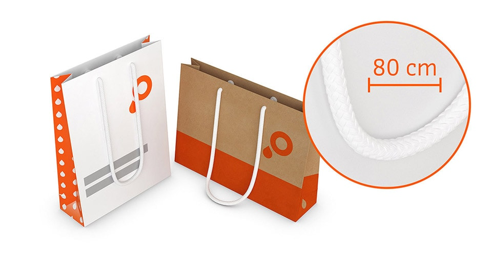 Paper Carrier Bags with Shoulder Length Rope Handle